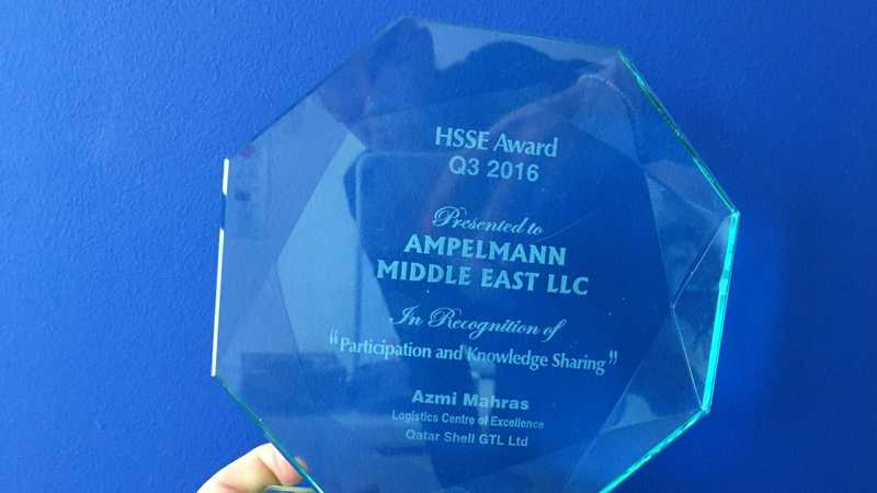Ampelmann awarded with HSSE Award from Qatar Shell GTL Limited